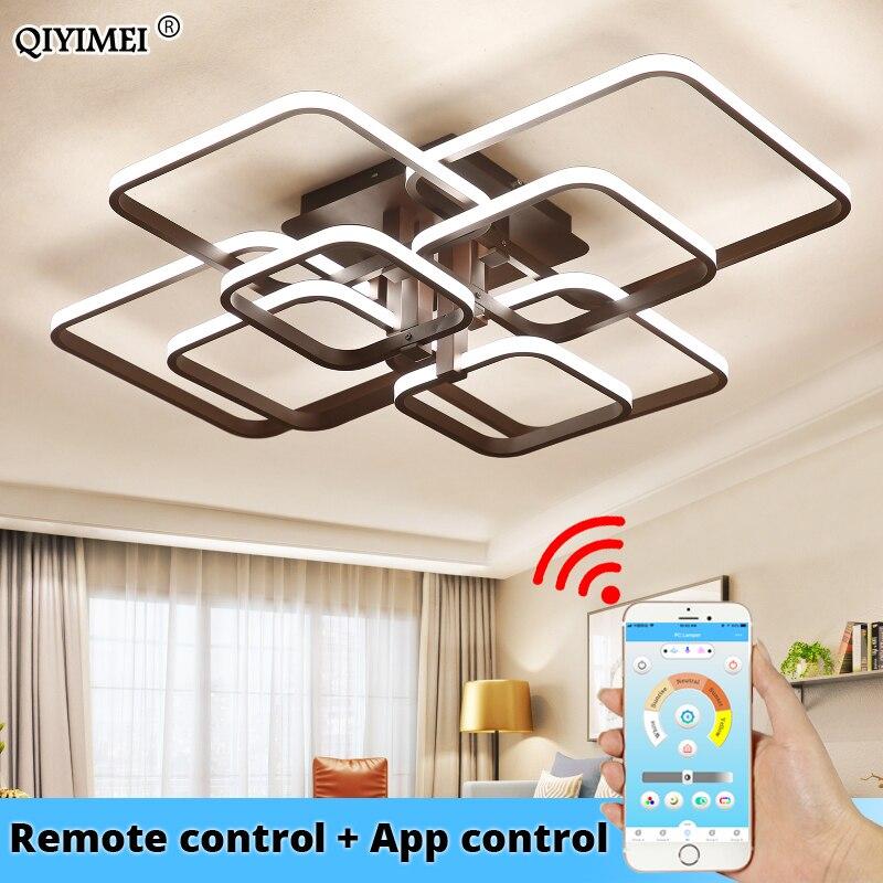 Kare daire yüzük tavan ışıkları oturma odası yatak odası için ev Modern Led tavan lambası fikstür parlaklık plafonnier dropshipping