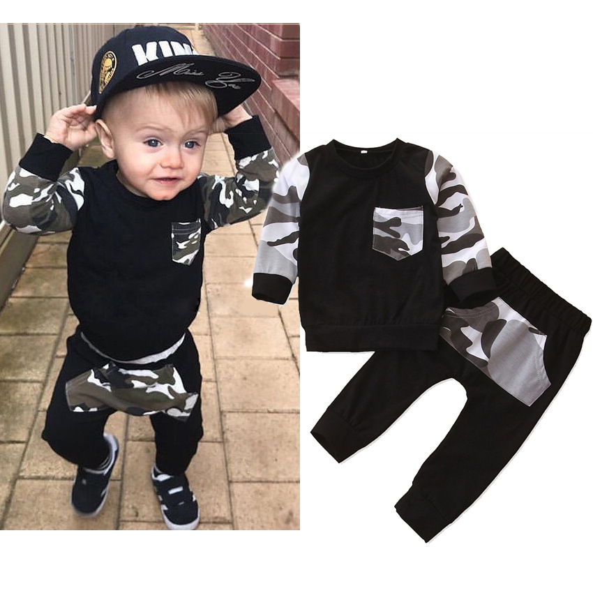 2pcs Kids Baby Boys Sport School Suit Camouflage Long Sleeve Tops+Pants Clothes