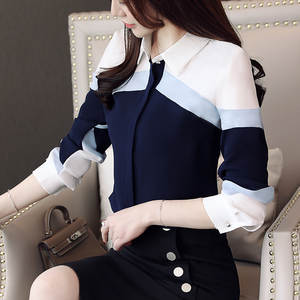 Shirts Women Tops Button Chiffon Blouse Long-Sleeve Office Plus-Size Lady And Spliced