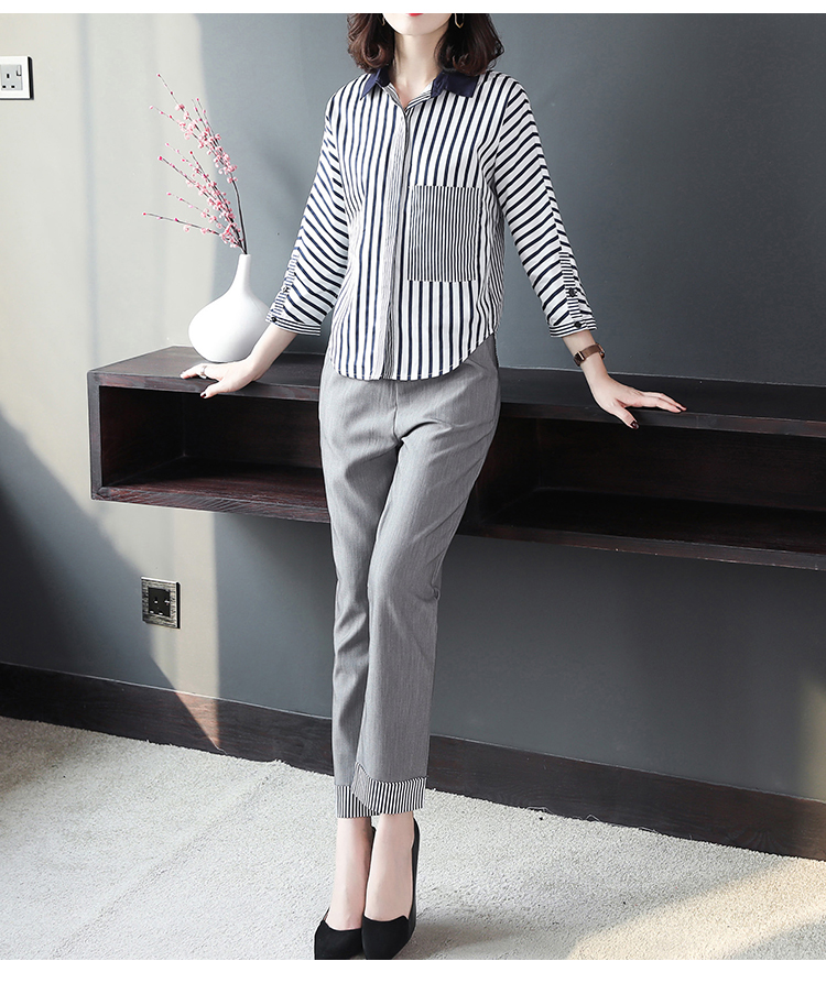 2019 Autumn Grey Striped Office Two Piece Sets Outfits Women Plus Size Long Sleeve Shirts And High Waist Pants Elegant OL Suits 32