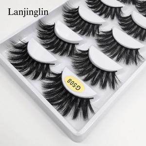 Image 5 - LANJINGLIN – Faux cils en vison naturel, effet 3D, 5 paires, 10/100 boîtes, extensions longues, vente en volume