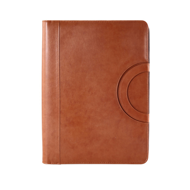 A4 Multifunctional Notebook Folder PU Leather Cover Zipper Bag For Notebook Business Travel