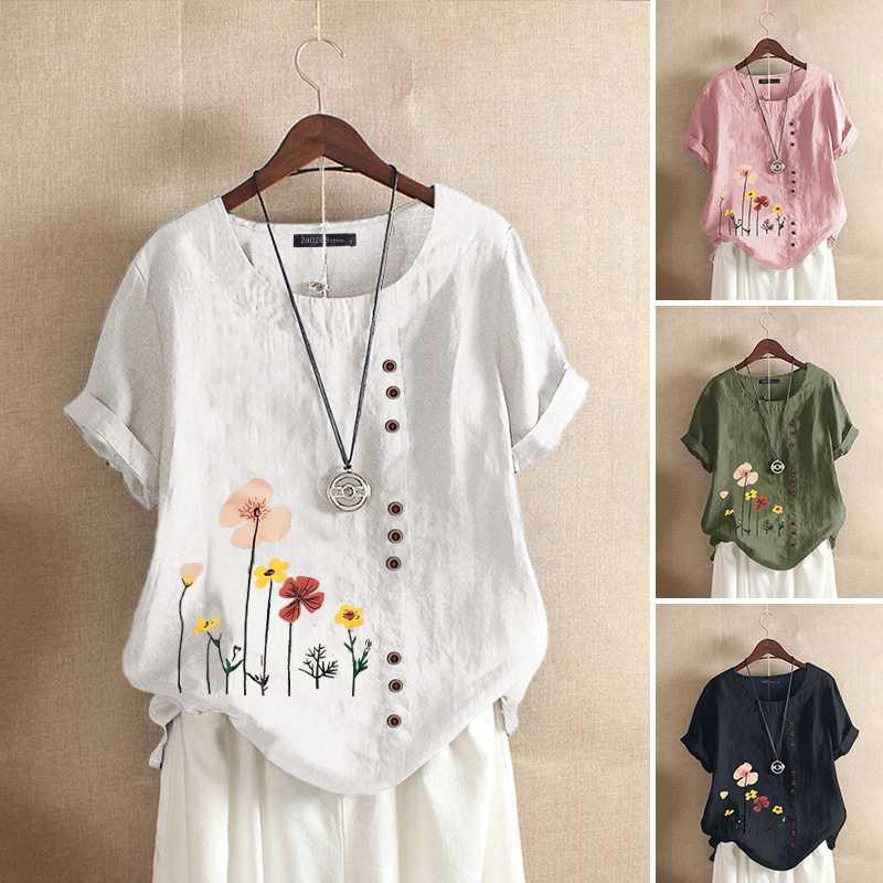 플러스 사이즈 튜닉 여성용 프린트 블라우스 2020 ZANZEA Fashion Summer Tops 캐주얼 반소매 셔츠 여성용 꽃 무늬 Blusas Chemise