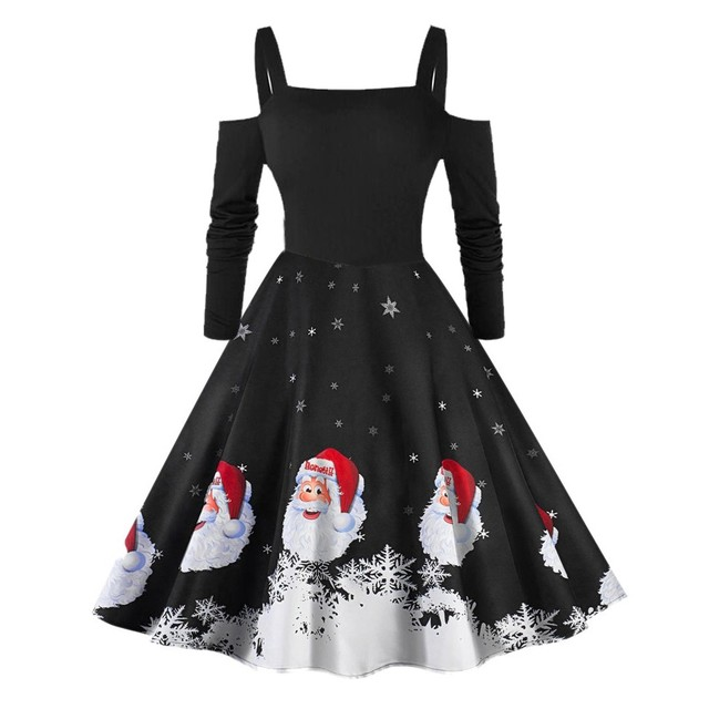 JAYCOSIN Women Dress Autumn Sexy Off Shoulder Christmas Santa Claus Print Dress Midi Long Sleeve Party Dresses Vestidos Oct