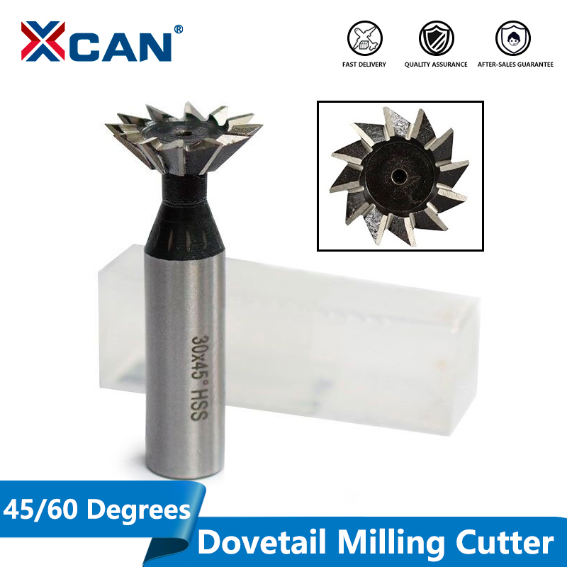 XCAN 1pc 45/60 Degrees 10/14/18/20/25/30/32/35mm HSS Dovetail Milling Cutters  Straigh Shank CNC Router Bits End Mills|Milling Cutter|Tools - title=