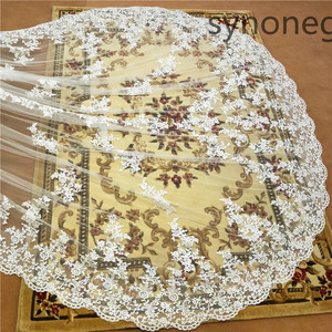 Image 4 - New pattern Cathedral Length Bridal Veil Lace Veil Wide Veil 1 Layer Wedding Veil Metal Comb Real Photo