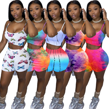 Echoine women two piece set tie-dye butterfly printed spaghetti strap tops shorts jogger sweatpants suits matching tracksuit
