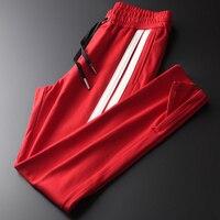 Red Mens Luxury Ribbon Stripes Casual Sports Man Pants Autumn Fashion Slim Elastic Waist Male Trouser Plus Size 4XL