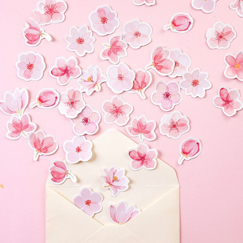 45pcs/box Cherry Blossoms Stationery Stickers Sealing Label Travel Sticker DIY Scrapbooking Diary Planner Albums Decoration