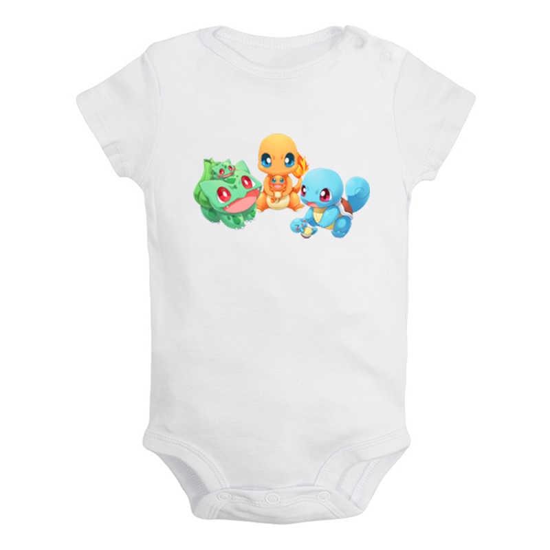 귀여운 만화 포케몬 Squirtle Bulbasaur Charmander 디자인 신생아 아기 소년 소녀 의상 점프 슈트 인쇄 유아 바디 슈트 옷