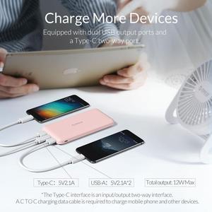 Image 2 - Bateria externa portátil orico, bateria fina de 10000mah, carregador para telefone celular xiaomi usb tipo c