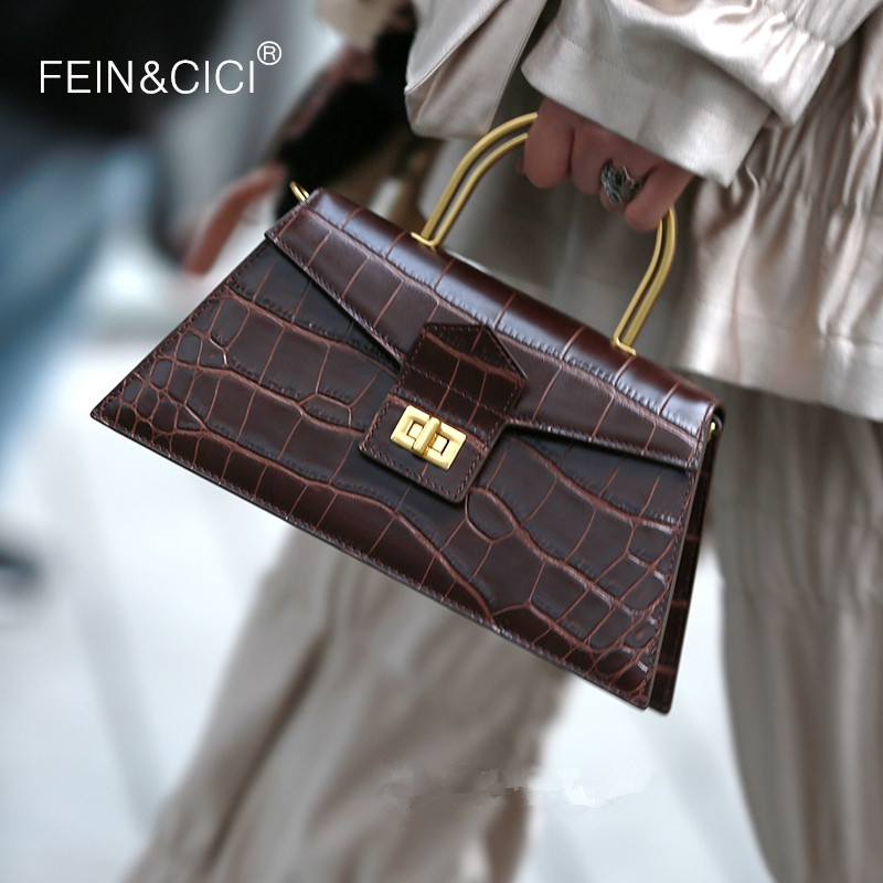 Women Box Flap Bag Animal Print Alligator Totes Bag White Coffee Vintage Trapezoid Shoulder Messenger Bag 2020 Spring Summer New