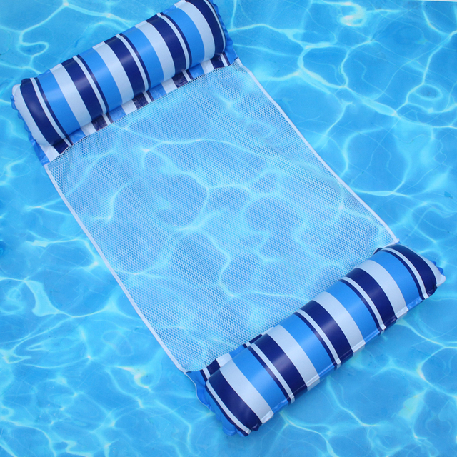 Inflatable Floating Bed Air Mattress PVC Water Hammock Recliner Stripe Mesh Beach Foldable for Swimming Pool Water Amusement 4