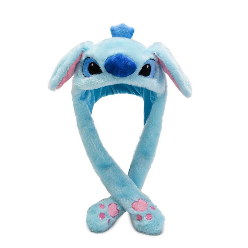 Kocozo, шапка кролика, подвижные уши, милая мультяшная игрушка, шапка, подушка безопасности, Kawaii, забавная шапка-игрушка, Детская плюшевая игрушка, подарок на день рождения, шапка для девочек - Цвет: Blue Stitch