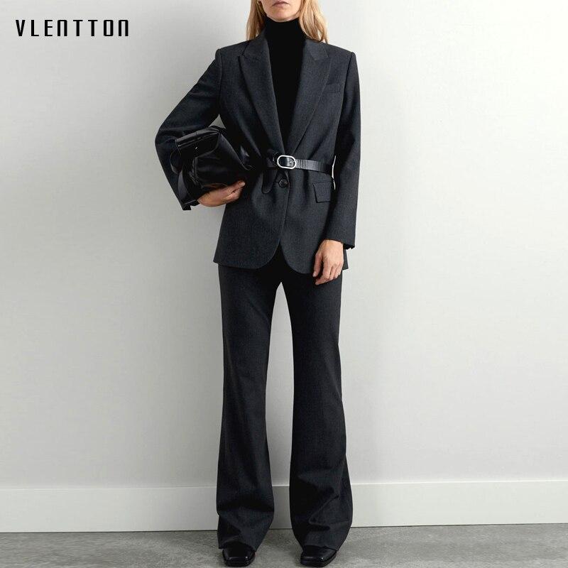 Autumn Winter Work Office Ladies Pant Suits Women Vintage Notched Blazer Jacket Coat & Flare Pants Two Piece Set Female Trouser