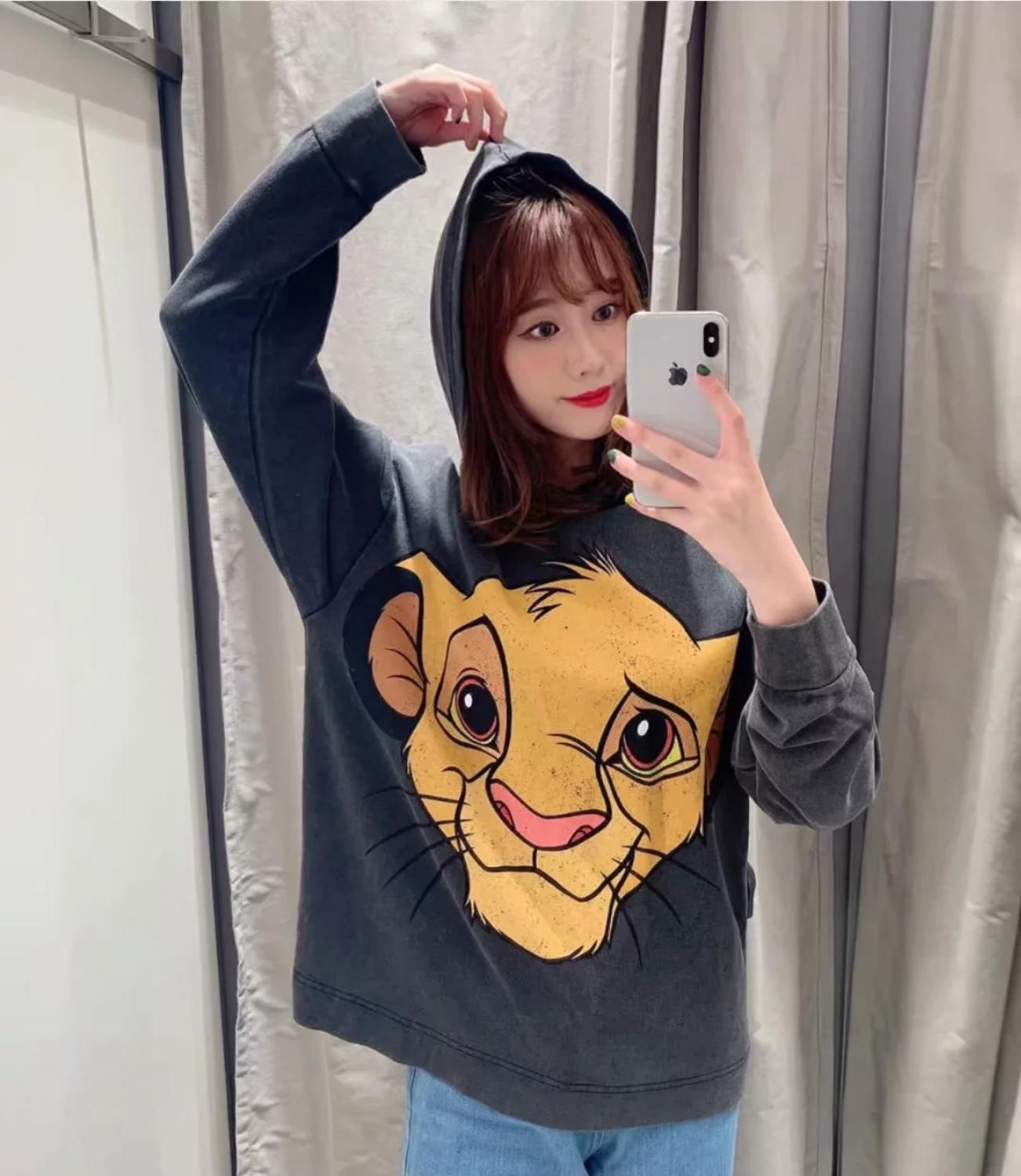 Women Tee Fashion Sweatshirt The Lion King Hoodies Clothing Pullover Streetwear Cartoon 2019 Autumn Hooded Oversize