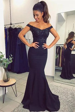 Navy Blue Evening Dresses Mermaid Satin Women Formal Prom Dress Off The Shoulder V-neck Wedding Party Dress vestido formatura dd jyoy off the shoulder satin evening dress for women formal dresses evening gown lace body dress with train zipper back