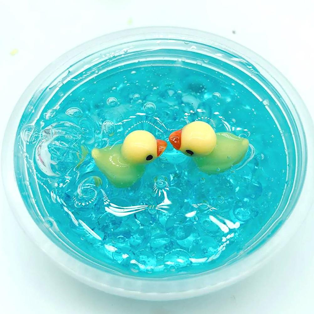 1Pcs DIY Cute <font><b>Duck</b></font> Fluffy Foam Crystal <font><b>Slime</b></font> Putty Scented Clay Stress Relieve Kids Children Learning Education Toys Gifts image