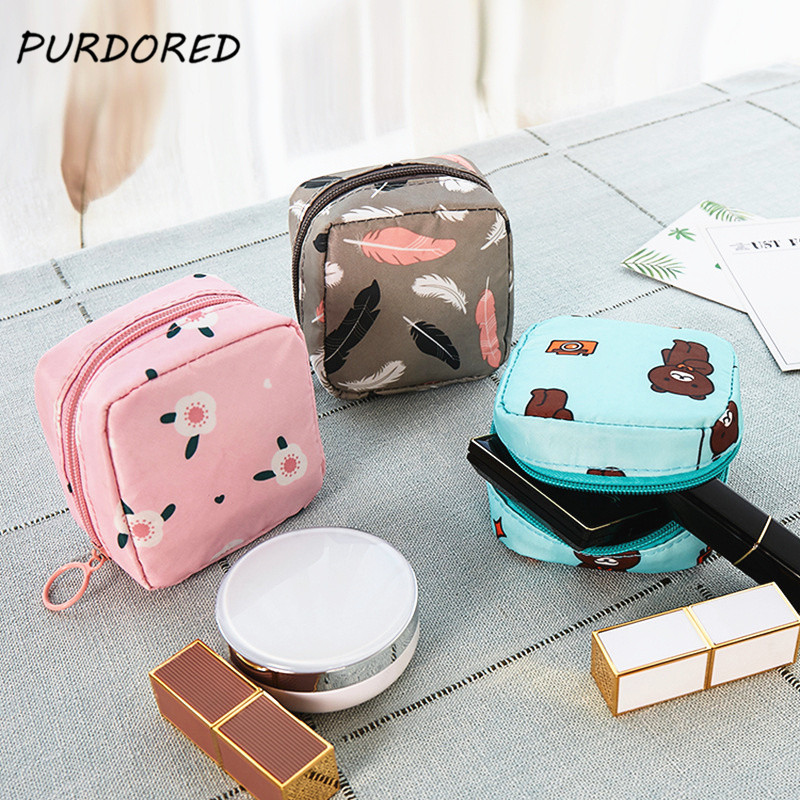 PURDORED 1 Pc Mini Women Cosmetic Bag 3D Print Girl Lipstick Make Up Bag Travel Makeup Pouch Lipstick Organizer Case Trousse