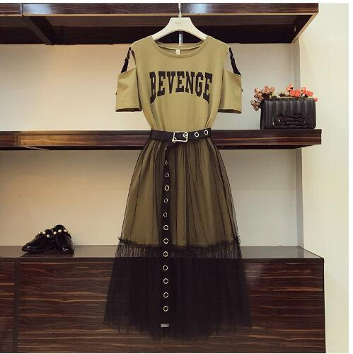 2 Piece Set 2019 Summer Women's Cotton Long Strapless T-shirt +Mesh See Through Skirt Sets Women Fashion Holes Belt Skirts Suits