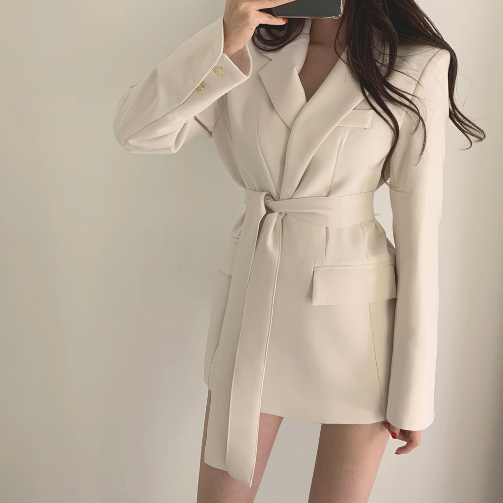 KANCOOLD Coats Fashion Solid Long Sleeves Pockets Lapel Belt Outwear Bandage Slim Suit New Coats And Jackets Women 2019Oct3
