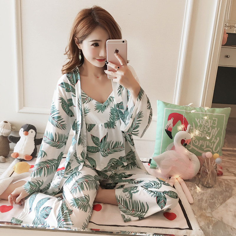 Women's Moisture-wicking Clothing Set Three-piece Set With Chest Pad Long Sleeve Japanese Style Kimono Qmilch Pajamas-Outer Wear