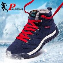 Winter Boots Hiking Shoes Sport-Footwear Sneakers Men Warm Plush Fur Ankle PULOMIES Women