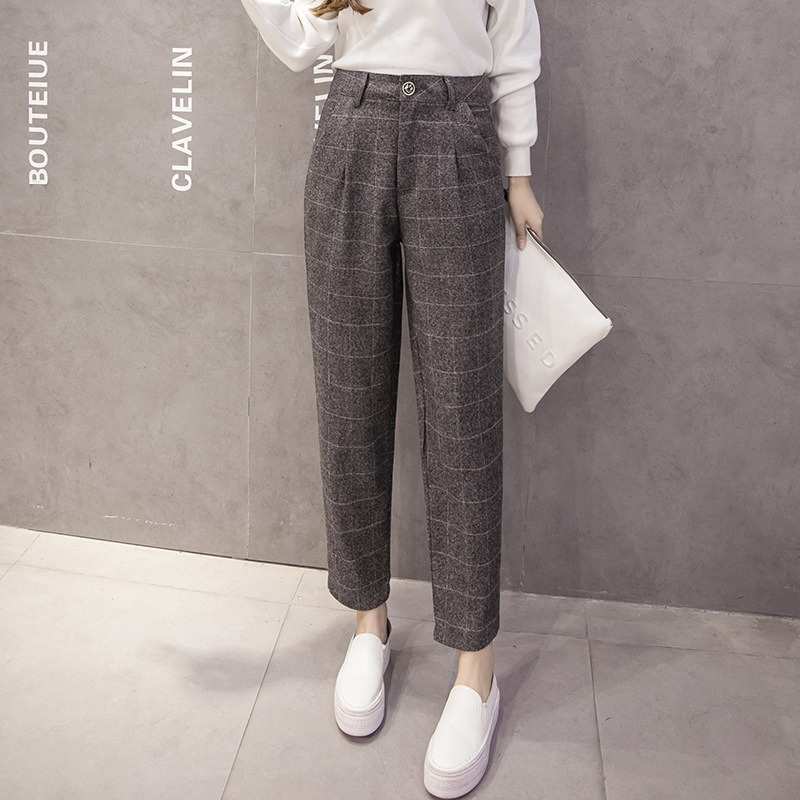 Fashion Plaid Pants Autumn And Winter Retro High Waist Pants Harem Pants Feet Trousers Casual Pants Ladies Nine-Point Pants