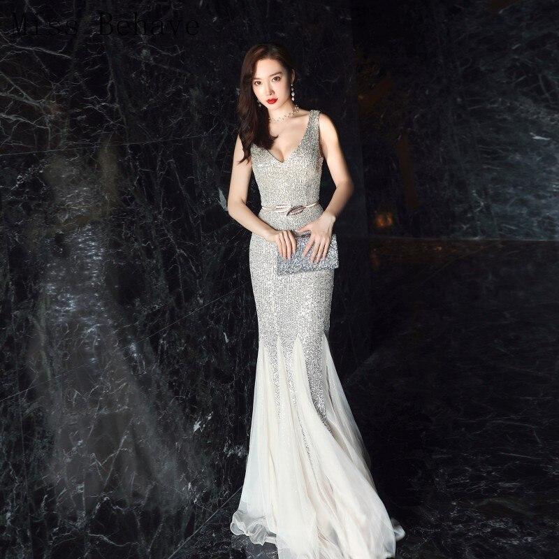 DD JYOY Silver Mermaid Evening Dress Long 2020 New 6 Colors V Neck/Back Elegant Long Formal Women Dress with Train Zipper