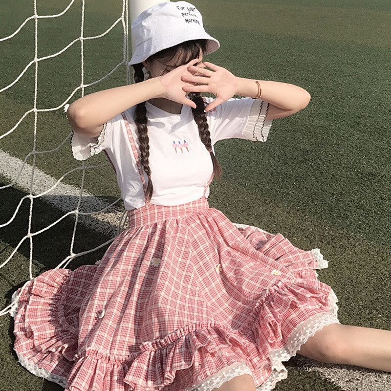 Kawaii Lolita Skirt Japanese Style 90S Teens Soft Sister Daisy Appliques Lace Patchwork Ruffle Plaid Suspender Skirts