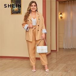 SHEIN Plus Size Khaki Double Breasted Blazer and Paperbag Waist Belted Pants 2 Piece Set Women Autumn Casual Two Piece Sets
