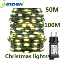 Luci natalizie fata natalizia Led 10M-100M PVC verde impermeabile filo di rame spina ue luce stringa lampada ghirlanda esterna per albero
