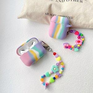Image 5 - Colorido arco íris caso para airpods caso para airpods pro moda flor cordão chaveiro silicone fone de ouvido capa para airpods 2