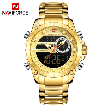 NAVIFORCE Men's Dual Display Military Fashion Stainless Steel Waterproof Complete Calendar Quartz Watches 5