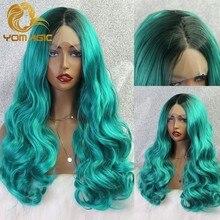 Perruque Lace Front wig synthétique sans colle Yomagic – perruque Lace wig, cheveux longs et ondulés, vert foncé, avec naissance de cheveux naturelle, abordables, pour Cosplay