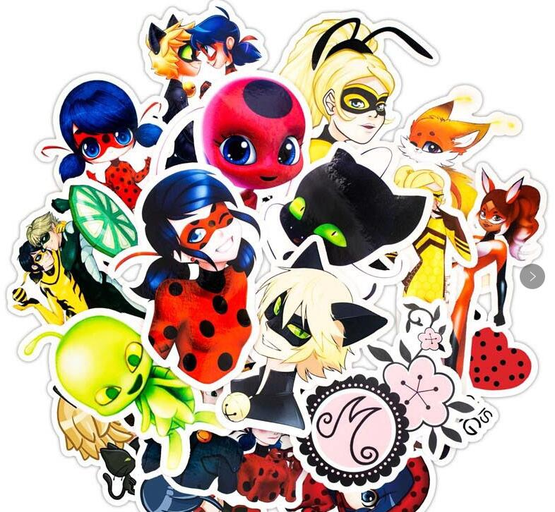 Stickers 50Pcs/set Cartoon Ladybug Toys For Luggage Car Laptop Luggage Decal Fridge Notebook Waterproof Sticker Adrien Marinette