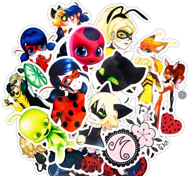 Stickers 50Pcs/set Cartoon Ladybug Toys For Luggage Car Laptop Luggage Decal Fridge Notebook Waterproof Sticker Adrien Marinette
