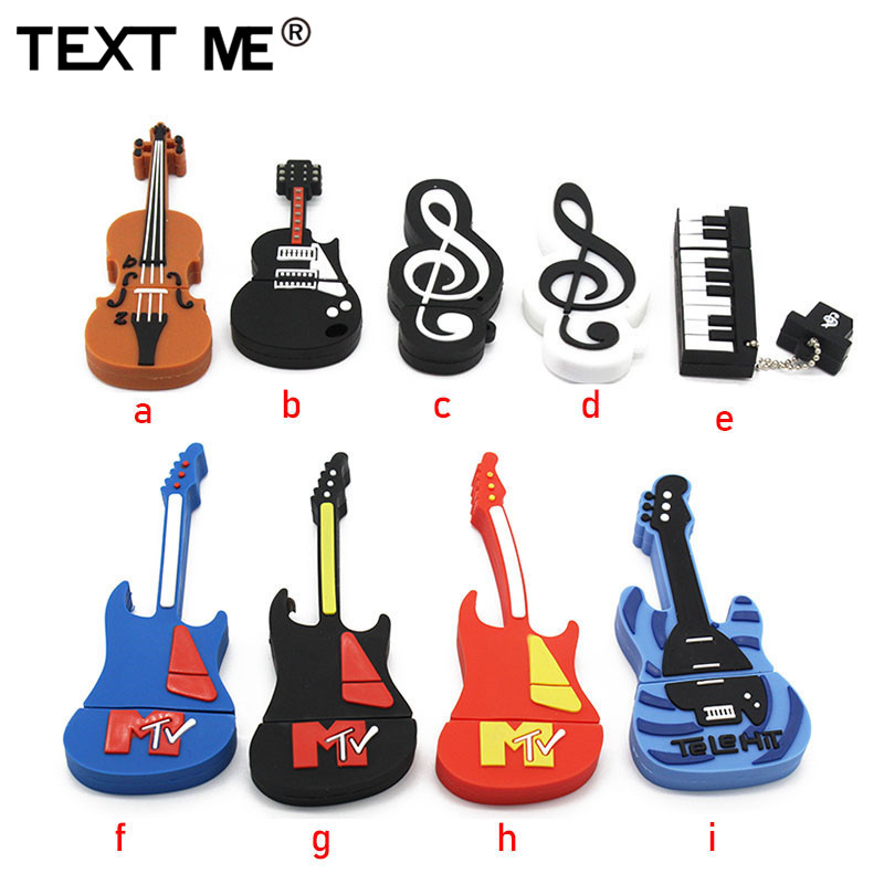 TEXT ME USB Cartoon  Usb 2.0 Musical InstrumentUSB Flash Drive Pen Drive 4GB 8GB 16GB 32GB Memory Stick