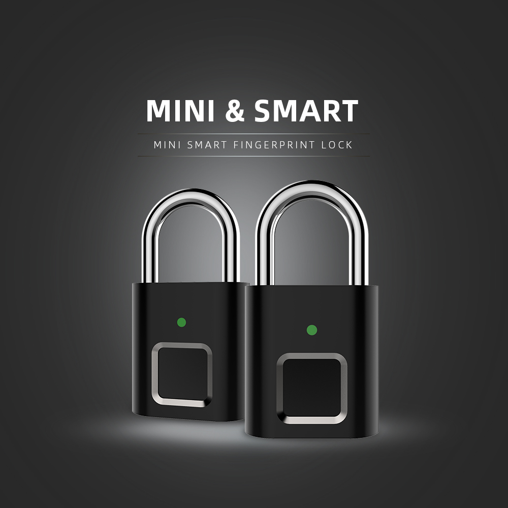Mini Unlock Rechargeable Smart Lock Keyless Fingerprint Lock Anti-Theft Security Padlock Door Luggage Lock Small Box