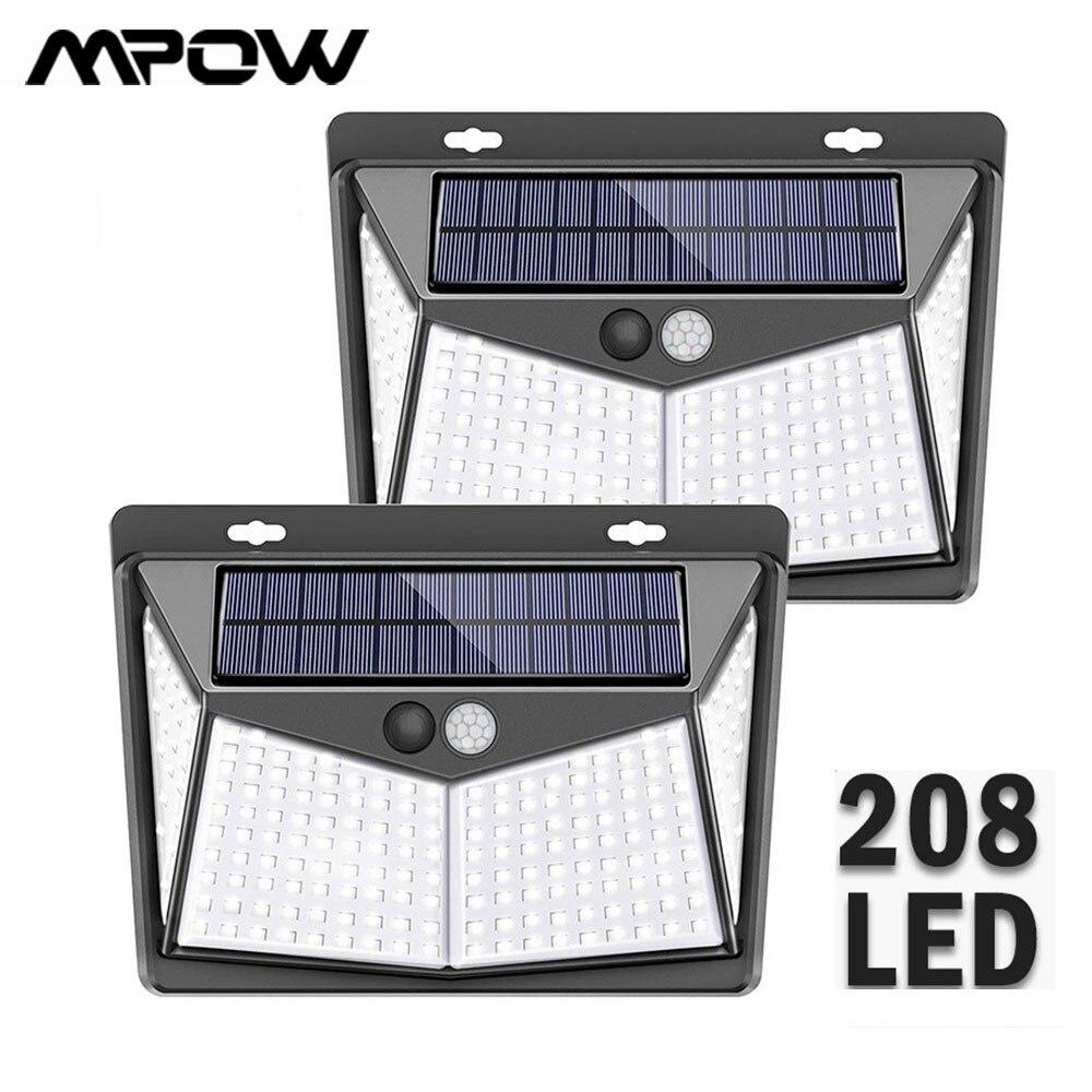 Outdoor 208 LED Solar Light For Mpow PIR Motion Sensor Light 3 Lighting Modes IP65 Waterproof 270° Wide Angle Solar Power Light