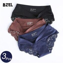 BZEL 3Pcs/lot Seamless Women Hollow Out Panties Set Underwear Comfort Lace Briefs Low Rise Female Sport Panty Soft Lady Lingerie
