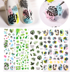 1 Sheet Tropical Beach 3D Nail Sticker Decals Fresh Lovely Leaves Flowers Transfer Stickers Slider Nail Art Wraps Decoration