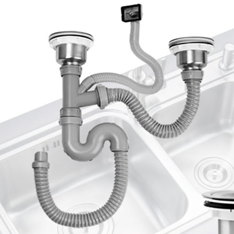 Kitchen Sewer Pipe Drainage Pipe Vegetables Basin Inter-platform Basin Amoy Kitchen Sink Drainer Set Sewer Accessories