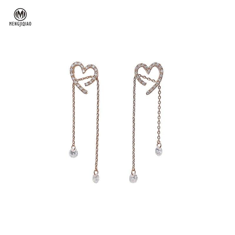 MENGJIQIAO Korean Elegant Shiny Zircon Love Heart Long Tassel Drop Earrings For Women Delicate Micro Paved Pendientes Jewelry