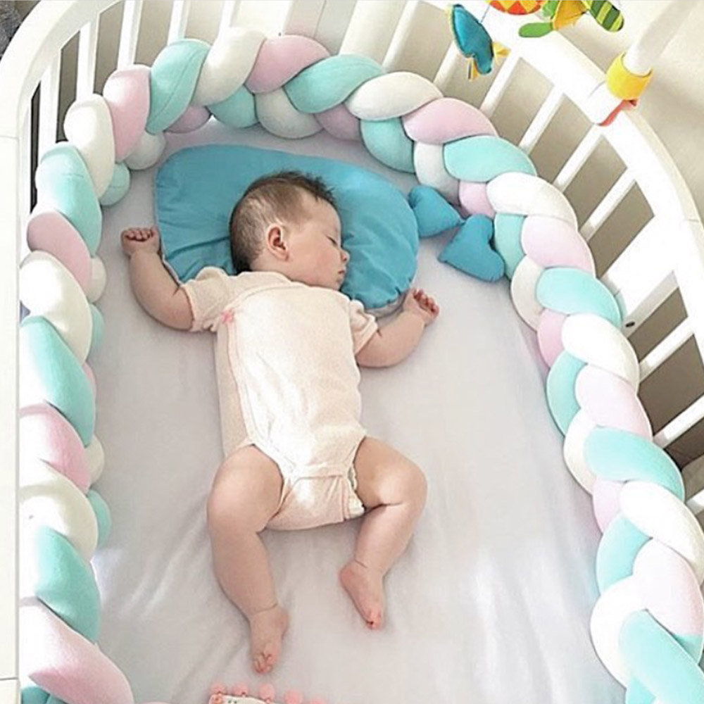 1.5M/2M Newborn Baby Bed Bumpers 2 Colors Knotted Braid Infant Crib Bed Room Wall  Decor Baby Bumpers Winter Warm Photo Props