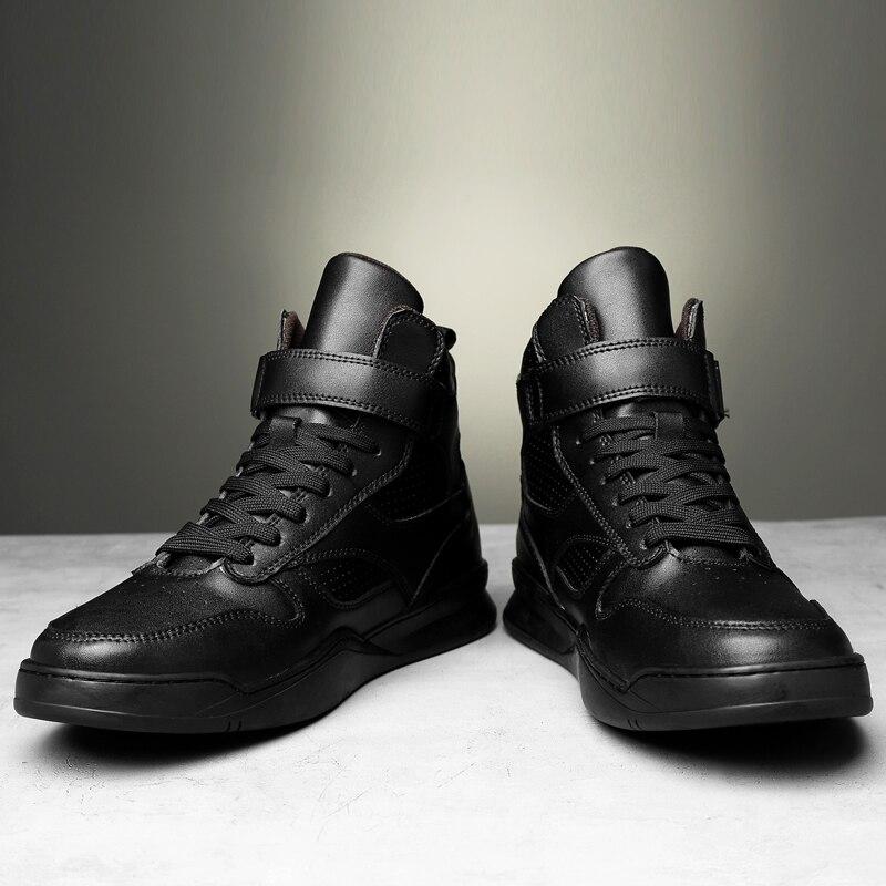 2019 г. Осенне зимняя мужская обувь повседневная мужская обувь из натуральной кожи на плоской подошве, кроссовки с высоким берцем, черная и белая обувь мужская обувь на платформе - 5