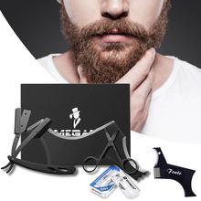Black Stainless Steel Razor Scissors Mustache Styling Comb Shaving Blade Set Kit