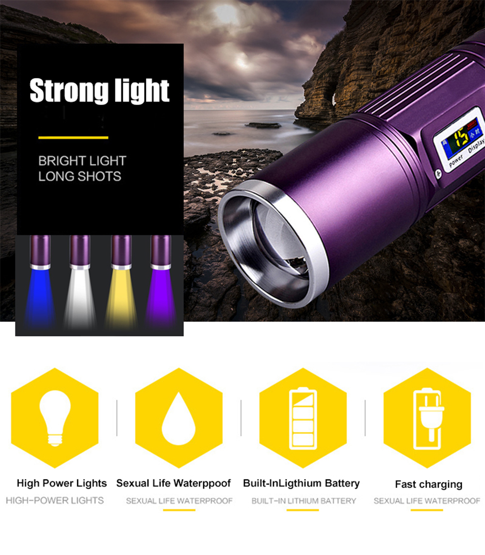 Portable LED Flashlight White / Blue / Yellow / Purple Light 4 Color Torch with Power Display Zoomable Rechargeable Fishing Lamp