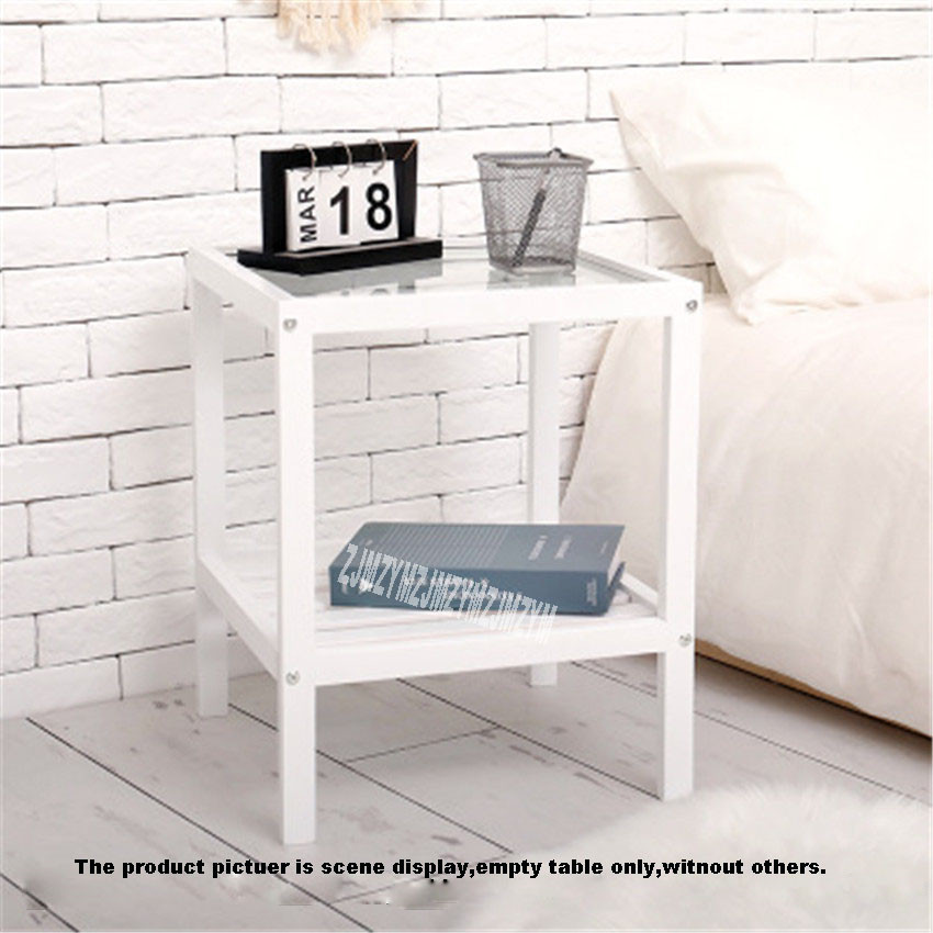 Simple Bedside Table Small Partment Solid Wood Bedside Frame Bedroom Transformation Tempered Glass Rack Bedside Practical Table
