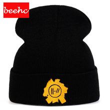 hip hop Rock band Twenty One Pilots skullies Beanie Cap embroidery Cosplay Costume Knitted beanie woolen Hat Warm autumn Winter crescent embroidery flanging knitted beanie